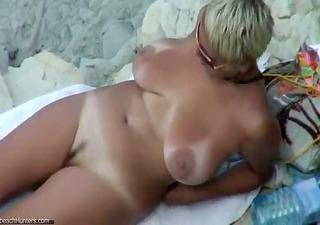 hot older in nature beach