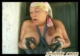 overweight italian granny fucks farm hand in the